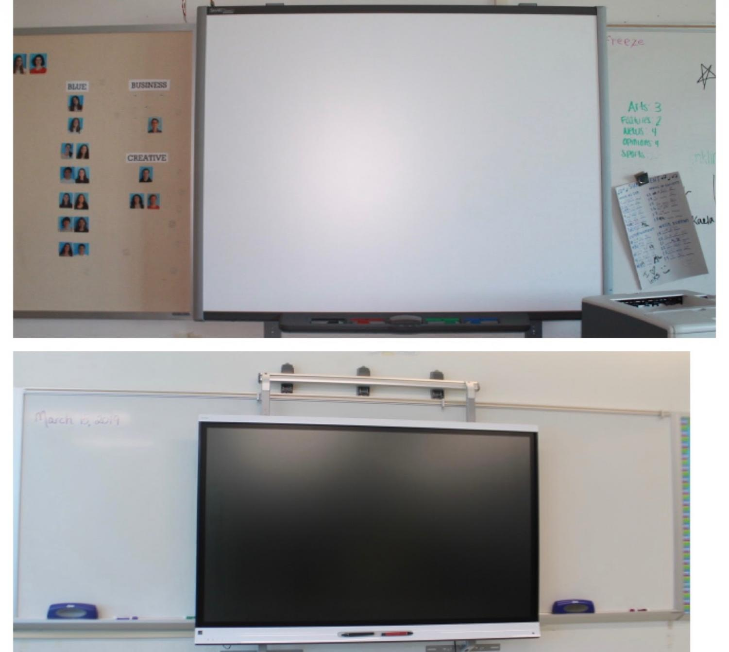 These are two versions of SmartBoards at Staples High School, some being newer and having a higher technology capability. The older SmartBoards are notorious for having technology difficulties and breaking more easily.