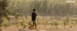 William Kamkwamba (Maxwell Simba) and his dog, Shamba watch as the government kills trees in exchange for a small sum of money for the town.