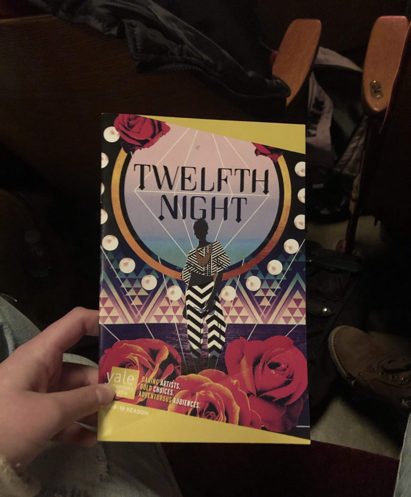 """Sasha Barnett holds the playbill for Yale Repertory Theater's """"Twelfth Night"""" in anticipation for the show on Wednesday, April 3."""