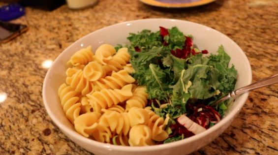 A vegan kale salad and pasta, the perfect plant based vegan dinner!