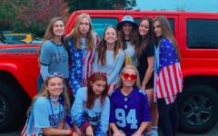 Senior girls celebrate USA day as part of spirit week.