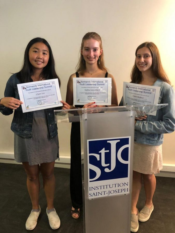 (PICTURED LEFT TO RIGHT: Claire Lee '21, Sophia Lauterbach '21 and Claire Redmer '21) Staples students attended the Normandy International Youth Leadership Summit where they could participate in debates and discussions about global issues.