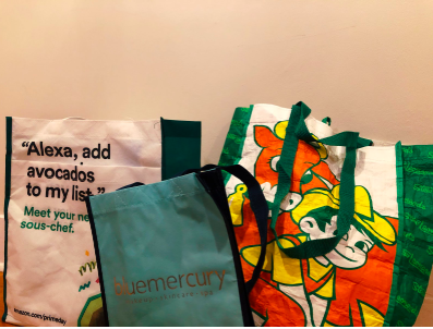 Companies with local stores like Whole Foods, Bluemercury and Stew Leonard's have distributed reusable bags to promote environmental awareness.