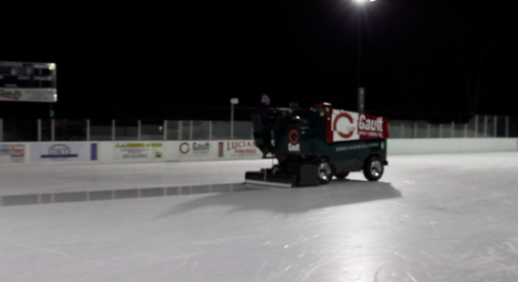 The zamboni creates a fresh layer of ice at the Longshore ice rink.