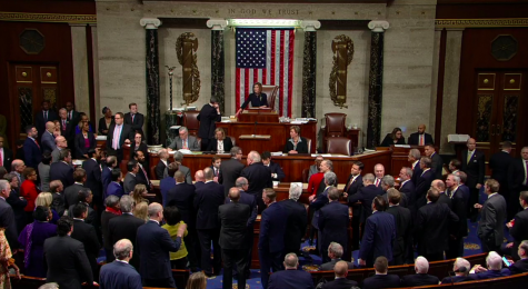 The House of Representatives vote to impeach President Donald Trump on two articles (abuse of power and obstruction of Congress) on Dec. 18.