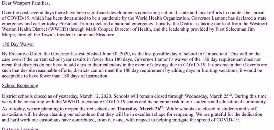 Dr. David Abbey announces via email that WPS will be closed through March 25. In the meantime, WPS and the SDE are developing a mandatory distance learning program for students.