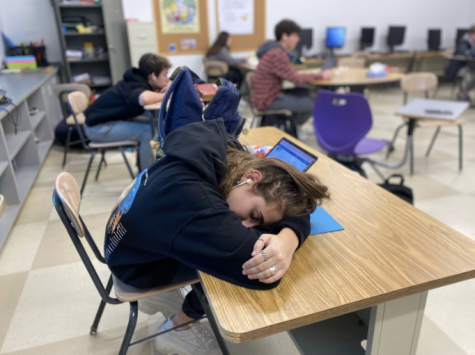 Merel Kanter'22 uses her free period wisely as she catches up on much needed sleep. This is one of the many reasons why voters pushed for a later starting time.