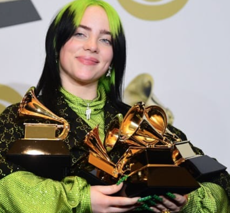 Billie+Eilish+swept+the+62nd+annual+Grammys+award+show+winning+five+of+her+six+nominations%3A+Best+New+Artist%2C+Best+New+Album%2C+Record+of+the+Year%2C+Song+of+the+Year+and+Best+Pop+Vocal+Album.%0A