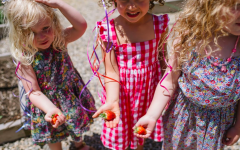 Three little ones show off freshly picked strawberries from the farm.