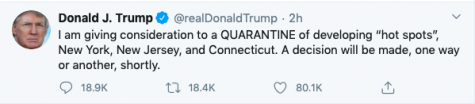 While President Trump did  begin plans to quarantine states in the northeast such as Connecticut, New York and New Jersey, he concluded that was not necessary. Instead, the White House decided on a travel warning with hopes to control the spread of the Coronavirus.