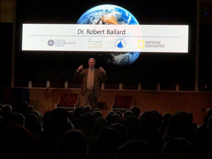 Robert+Ballard%2C+discoverer+of+the+remains+of+the+R.M.S+Titanic+visits+the+Westport+Public+Library+to+to+feature+a+presentation+on+the+background+of+his+career.+The+presentation+started+at+7pm+and+continued+late+into+the+night+on+Feb.+13%2C+2020+with+over+375+members+in+the+audience.