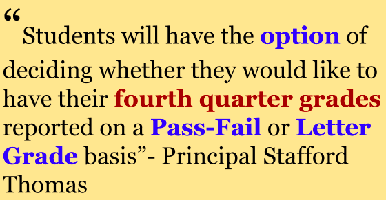 Parents received an email on Apr. 5 regarding the new grading system occurring in the fourth quarter, in which students will decide how they want their grades to be reported.