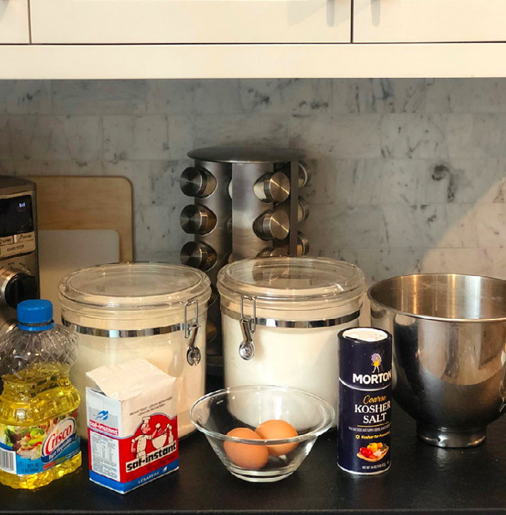 To make the dough for the Challah bread you will need: active dry or instant yeast, warm water, sugar, all-purpose flour, kosher salt, eggs, vegetable oil and additional sweetener.