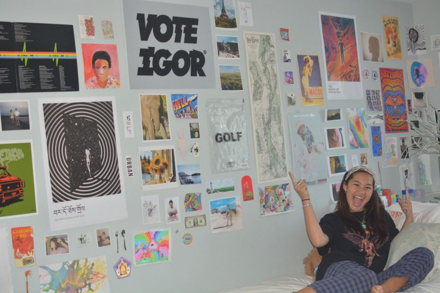 Elle DesMarteau '22 has a passion for all things art, and has hung some of her favorite creations on her bedroom walls.