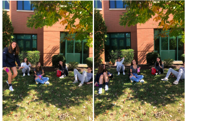 Students relax in the shade during a mask break outdoors.