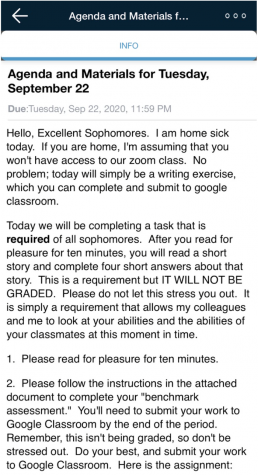 An absent teacher publishes an informative Schoology post making students aware of a substitute for the day.