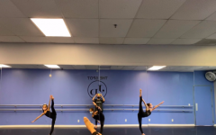 Students from the Spot @ Just Dance Studios practice routines with masks on.