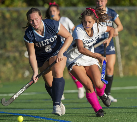 Julia Diconza '21 goes to the goal in the game against Wilton. Staples won with a score of 7-0, bringing their record to 3-0.