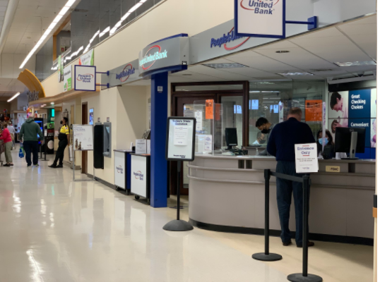 The People's United Bank in Stop and Shop  is right next to the entrance of the store.  The bank has not only lost money, but the  trust of the public since the robbery.
