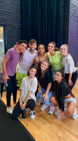 Kaitlyn Constantino '21 (far right) was one of six dancers chosen to dance along Tik Tok star Charli D'Amelio. Constantino's trip to film the virtual dance class included a coronavirus test as well as daily temperature checks to ensure they could dance in the studio without masks.