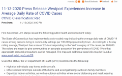 """Nov. 13 press release on westportct.gov detailing First Selectman's Jim Marpe's response to the """"code red"""" classification."""