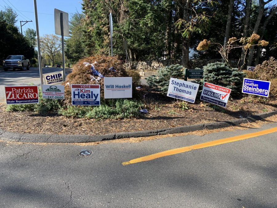 Candidates running for state elections placed campaign signs at heavily trafficked areas in Westport such as the intersection of North Ave. and Long Lots Rd. in the weeks preceding election day.