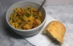 Leftover Thanksgiving turkey can easily be reused for this delicious egg noodle soup recipe.