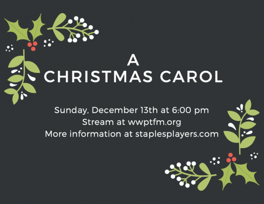"""Staples Players will be putting on a radio performance of """"A Christmas Carol"""" on Dec. 13. It will be one of several radio shows that have been put on since COVID-19 made on-stage performances inadmissible."""