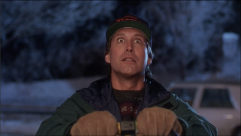 Chevy Chase's Clark Griswold decks his house in Christmas lights, as part of his plan to have the perfect, good old-fashioned family Christmas.