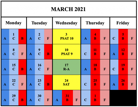 The new schedule provided by the school depicting the days in which each cohort goes into school in the month of March.