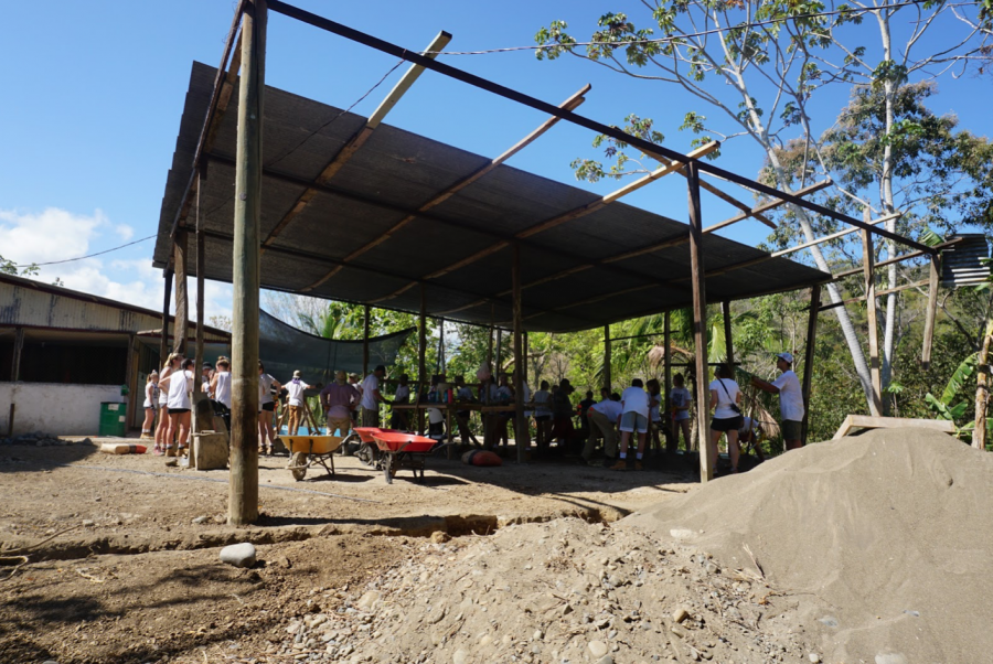 February+Trip+2020.+Students+in+one+group+traveled+to+Costa+Rica+where+they+built+a+learning+center+in+the+town+of+Boruca.+This+photo+is+from+the+beginning+of+the+process+where+students+are+sectioned+off+in+little+groups+to+mix+cement+and+stack+building+blocks.+