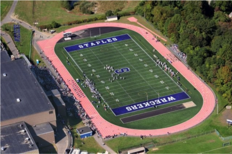 The staples high school football field is the perfect place to hold the COVID safe outdoor prom. It is so large that it could allow for the whole senior grade to social distance, while still having a good time together.
