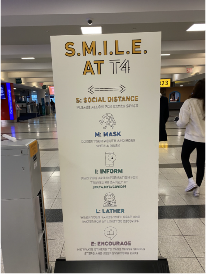 Due to the ongoing COVID-19 pandemic, there are safety and sanitary reminders all throughout airports. This includes reminders to wear masks, social distance and wash hands.