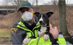 Peter Reid, Assistant Animal Control Officer, holds six-month-old puppy Trixie. Trixie came from an unkind home, so she feels more safe when she is held.