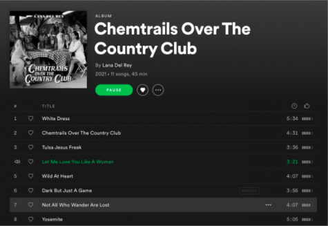 """Lana Del Rey's newest album, """"Chemtrails Over the Country Club,"""" hits number one of Billboard's albums, topping even Justin Bieber's """"Justice"""" which was released on the same day."""