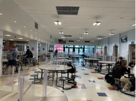 Students gather in the cafeteria during free periods to do work during the 41 minute periods. The cafe is open, but there is no lunch period as school ends at 11 a.m.