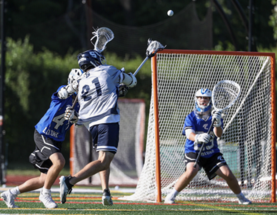 Charlie Howard '22 was a leading scorer in the game against Ludlow. Starting off the game strong, Howard scored 1 of his 6 goals in a 15-9 win.