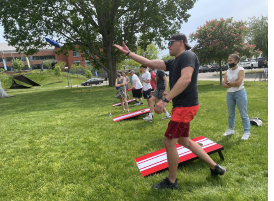 On May 22, the Westport Police Department worked with  the Teen Awareness Group and the Westport Youth Commission to engage in an afternoon of cornhole, a traditional backyard activity and now a professional sport.