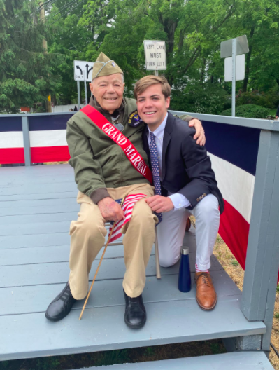 Veteran Nicholas Rossi's grandson and namesake talks about how his grandfather inspires him with his bravery during his speech on Veteran's Green.