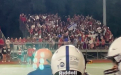 Cheshire High School's fan section waved an Israeli flag during the football game versus Staples on Sept. 24.