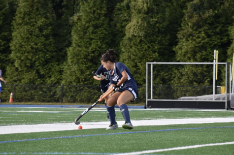 Tyla Ozgen '25, number 28, won the Ruden Report player of the week after playing just two games for the Staples field hockey team.