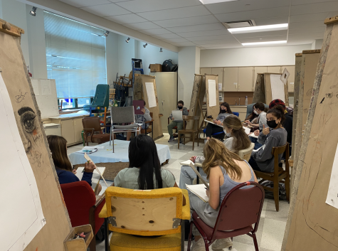 There is an influx of students taking art classes including the Introduction to Drawing class pictured above.