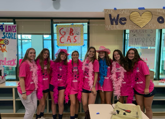 On senior day, seniors dress up and get shirts made by their team as a celebration of their last year as part of the Staples girls' soccer program.