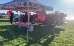 Several Westport groups such as the firefighters support the walk. A variety of booths that offer food and merchandise that donate their profit to support breast cancer.